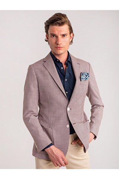 Dufy Vişne Kazayağı Desenli Erkek Ceket - Modern Fit