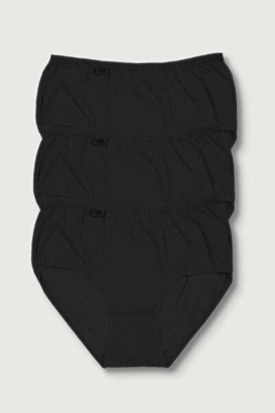 Tutku Kadın Siyah 3'lü Paket Likralı Bato Külot Elf568t0924ccm3 0924