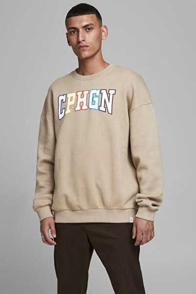 Jack & Jones Erkek Kahverengi Oversize Sweatshirt - 12180750