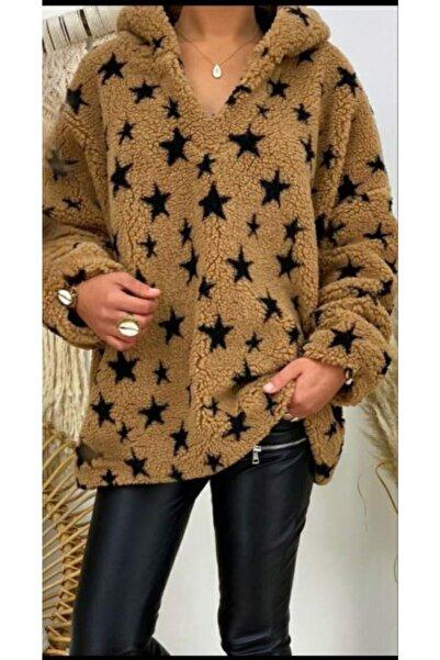 LENA Welsoft Peluş Yıldız Desen Kapşonlu Salaş Tunik Sweatshirt