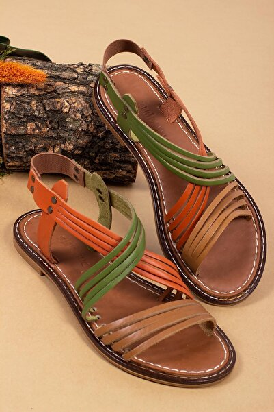 Deripabuc Hakiki Deri Multi-2 Kadın Deri Sandalet Dp28-0863