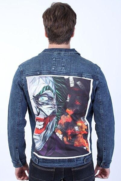 LTC Jeans Joker Baskılı Erkek Lacivert Yıkamalı Kot Ceket