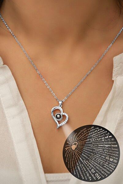 Papatya Silver 100 Dilde Seni Seviyorum Yazılı 925 Ayar Gümüş Rodyum Kaplama Kolye - Uvps100421