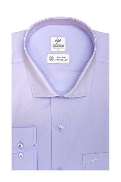 Erkek Lila Regularfıt / Rahat Kalıp 7 Cm Klasik Gömlek