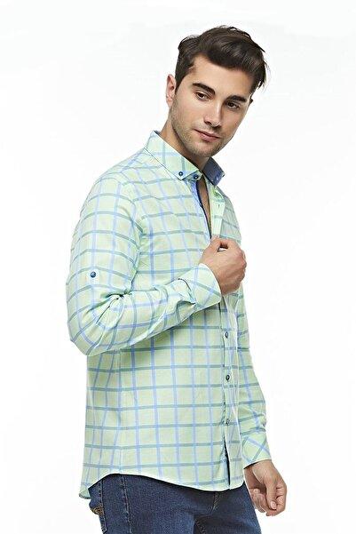 Ottomoda Uzun Kollu Casual Kareli Erkek Gömlek Mavi-yeşil