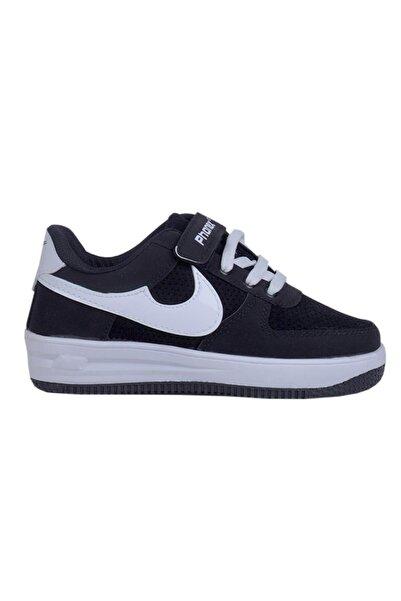 Phonex 79 Siyah Cırtlı Cilt Erkek Çocuk Spor Ayakkabı