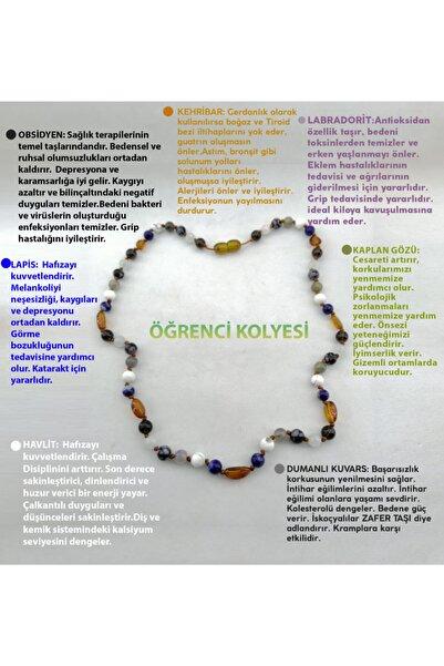 OSMANLI DOĞAL TAŞ Öğrenci Kolyesi-kaplan Gözü-dumanlı Kuvars-havlit-lapis-labradorit-kehribar-obsidyen