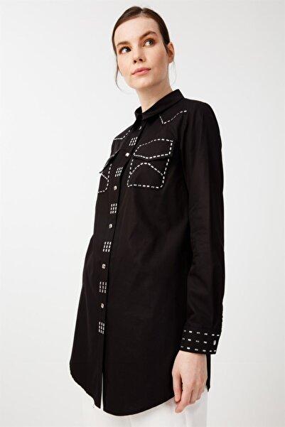 Ghisa Taş Detaylı Tunik Siyah