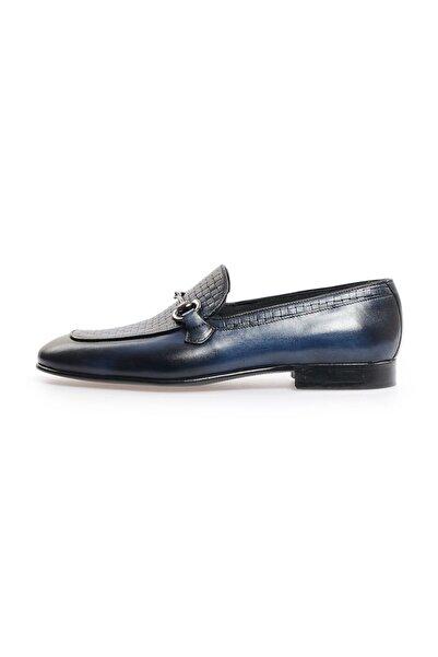 Flower Lacivert Deri Toka Klasik Ayakkabı