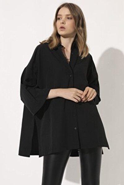Poplin Oversize Gömlek - Siyah