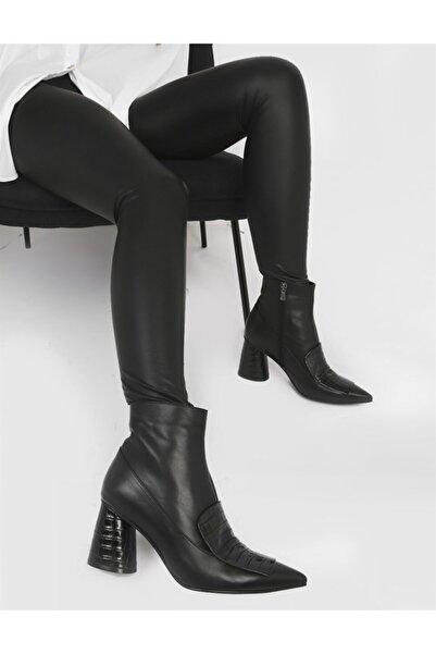 İLVİ Kissa Hakiki Deri Kadın Siyah - Siyah Krokodil Topuklu Bot