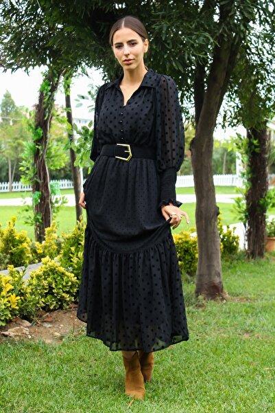 CurcunaShop Önden Düğmeli Şifon Elbise
