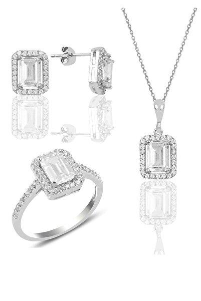 Söğütlü Silver Gümüş Baget Taşlı Üçlü Set