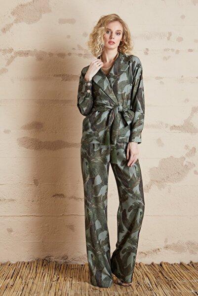 SERPİL Kadın Yeşil Yaprak Desenli Ceket 32415