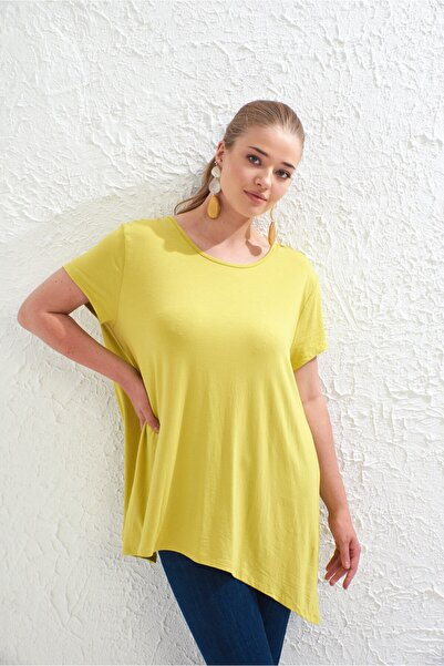 Big Free Bayan Asimetrik Kesim Kısa Kol Tshirt