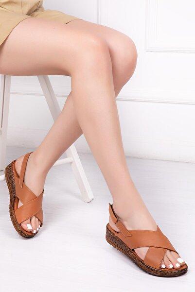 Deripabuc Hakiki Deri Taba Kadın Deri Sandalet Crz-0544