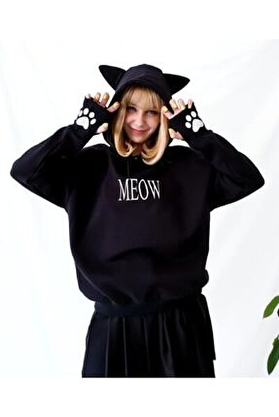 Meow Kedi Kulaklı Sweatshirt