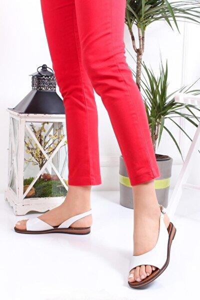 Deripabuc Hakiki Deri Beyaz Kadın Deri Sandalet DP-0076