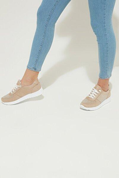 ZİNDİ Kadın Taş Detaylı Sneaker Ayakkabı A.kahve