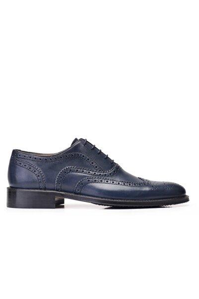Nevzat Onay Hakiki Deri Lacivert Klasik Bağcıklı Erkek Ayakkabı -11866-