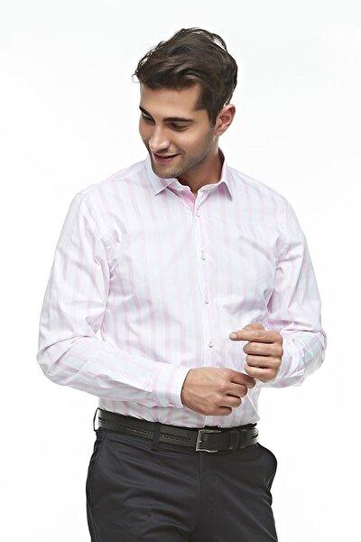 Ottomoda Uzun Kollu Çizgili Erkek Gömlek Pembe-beyaz