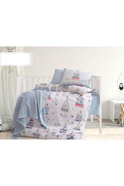 İyi Geceler İstanbul Bebek Pikeli Nevresim Takımı Bird House Mavi