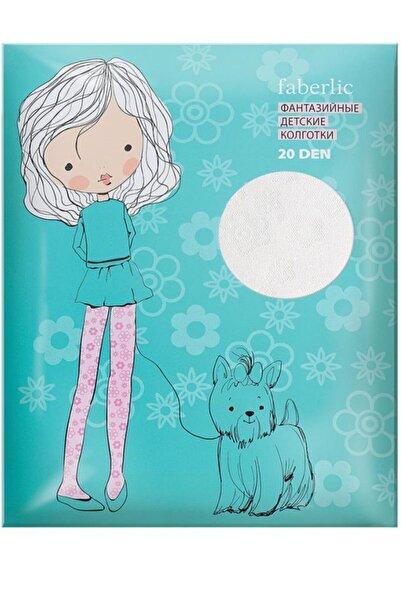 Faberlic Beyaz 3-4 Yaş Çocuk Külotlu Çorap Çiçek Desenli
