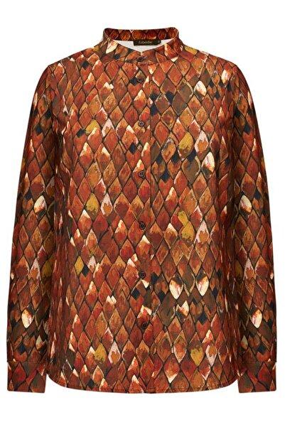 Faberlic Kahverengi Firebird Desenli Uzun Kollu Bluz 48 Beden
