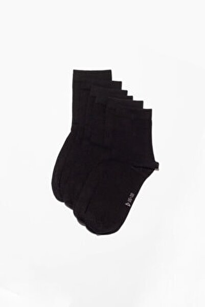 6'li Paket Unisex Basıc Soket Çorap- Siyah