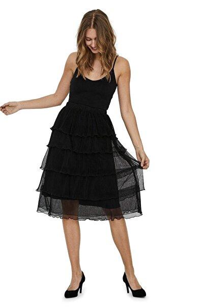 Vero Moda Kadın Siyah Beli Lastikli Kat Kat Etek 10230530 VMMIRA