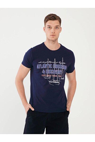 MCL Erkek Lacivert Bisiklet Yaka Baskılı  Slim Fit Tişört