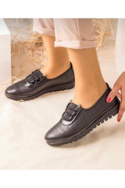SAYKMAR Kadın Siyah Babet Ayakkabı