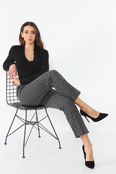 Trend ModaSem Kadın Siyah Örgü Pantolon