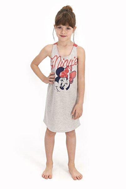 Minnie Mouse Kız Çocuk Pembe Sequin Koyu BejmelanjAskılı Homewear Elbise