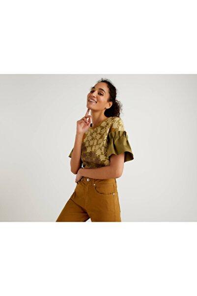 United Colors of Benetton Kadın Haki Kolu Fırfırlı Bluz