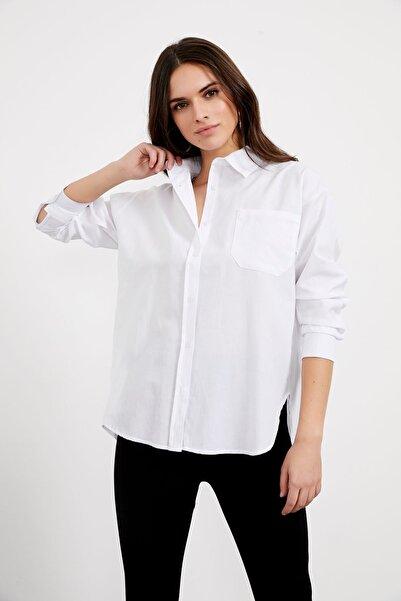 Arma Life Kadın Tek Cep Arkası Uzun Oversize Gömlek