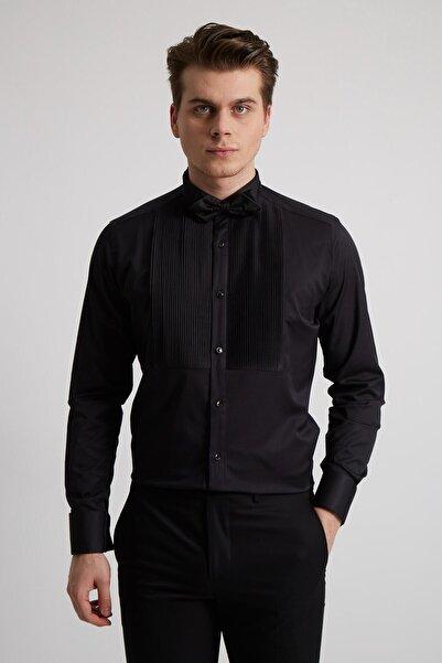 Fc Plus Erkek Siyah Pliseli Ata Yaka Pamuk Slım Fıt Gömlek