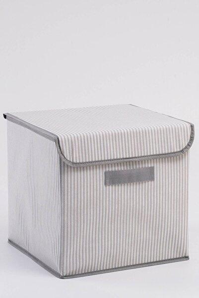 OCEAN HOME Gri Çizgi Desenli Kapaklı Kutu // 30x30x30