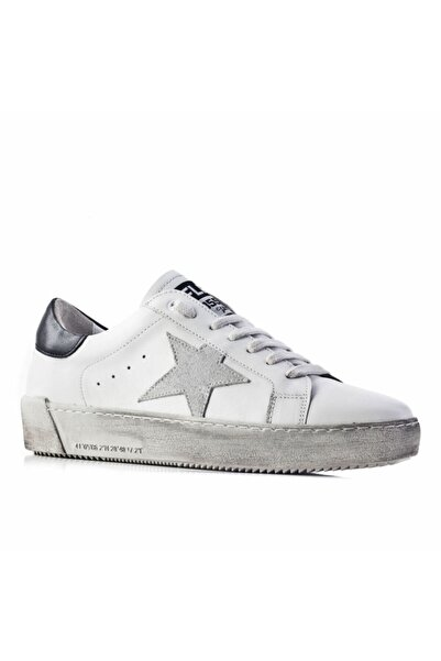 Cabani Flrs 055-fı Lux Özel Tasarım Yıldız Motifli Günlük Kadın Ayakkabı Beyaz Deri