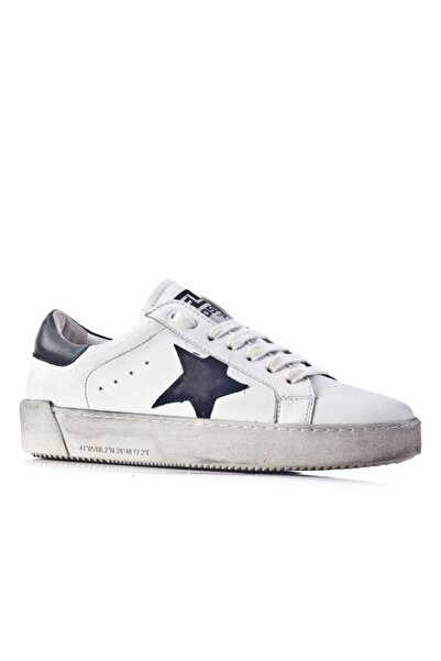 Cabani Flrs 055-fı Lux Özel Tasarım Yıldız Motifli Sneaker Kadın Ayakkabı Beyaz Soft Deri