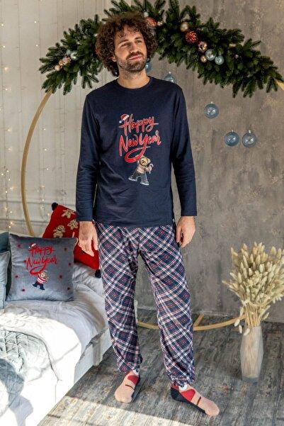 Katia&Bony Teddy Bear Christmas Erkek Pijama Takımı - Lacivert