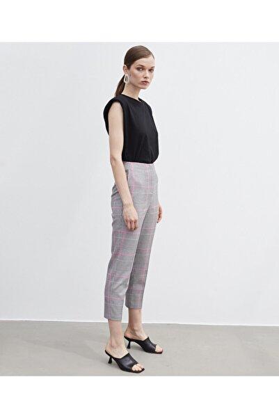 İpekyol Kadın Pembe Ekose Desen Pantolon