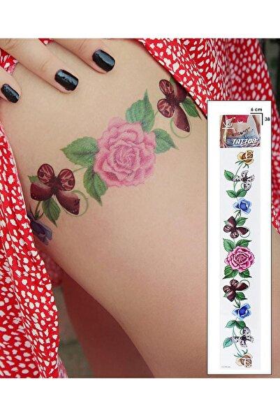 BAHELS Kadın Çiçek Ve Kelebek Detaylı Flash Tattoo Bel Kol Bacak Göbek Uzun Geçici Dövme