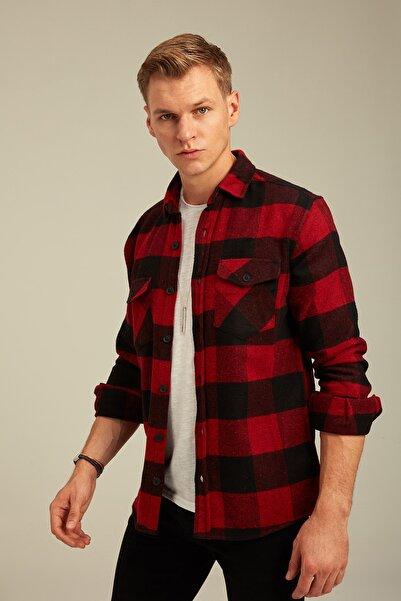 Tarz Cool Erkek Kırmızı Ekoseli Oduncu Gömlek odg001r01