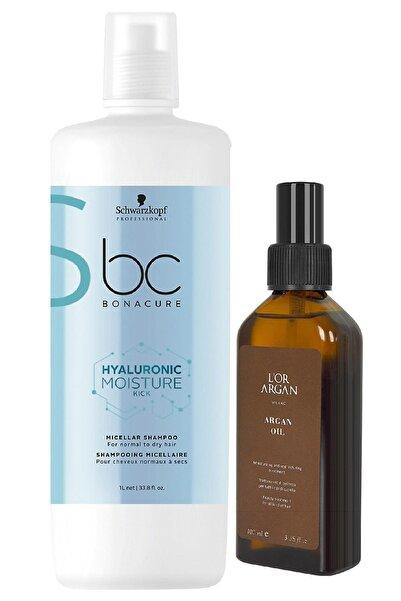 Bonacure Hyaluronic Nem Yükleme Şampuanı 1000 ml + Lor Argan Milano Argan Bakım Yağı 100 ml