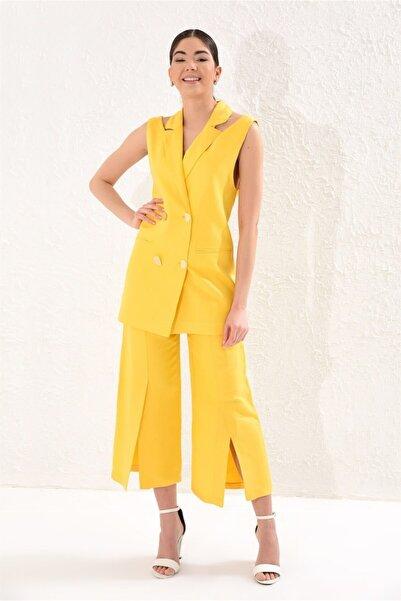 Setre Kadın Sarı Kruvaze Yelek Maxi Paça Pantolon Takım