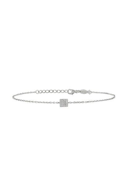 KURSHUNI Kadın Beyaz 925 Ayar Gümüş Kare Bileklik KR676-1