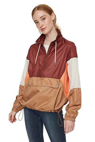 Vero Moda Kadın Bordo Renk Bloklu Büzme Detaylı Kanguru Mont 10224733 VMNANCY