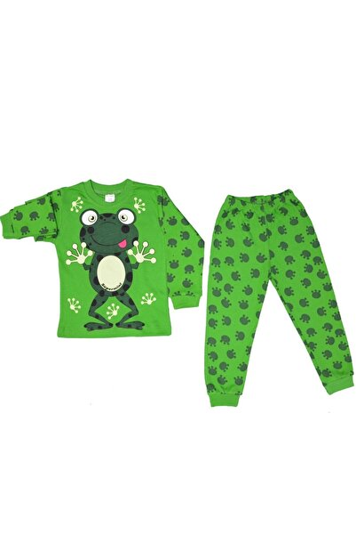 BAVYERA Yeşil Kurbağa Temalı 1-3 Yaş Bebek Pijama Takımı