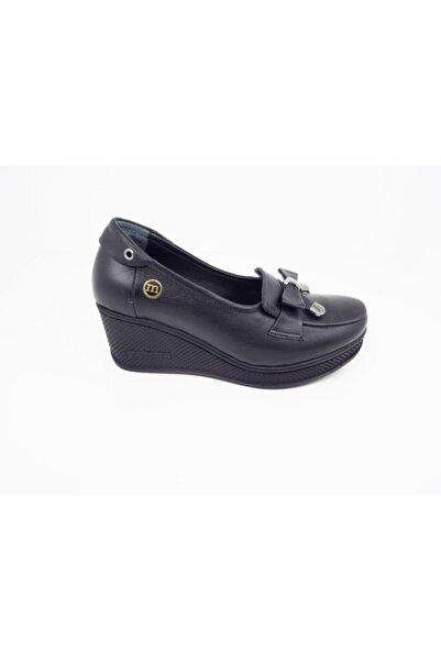 Mammamia Kadın Siyah Hakiki Deri Dolgu Topuklu Ayakkabı 3055